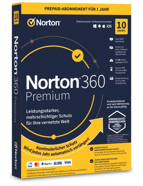 Norton 360 Premium 2021 / 2022 - 10 User / Geräte für 1 Jahr - ESD