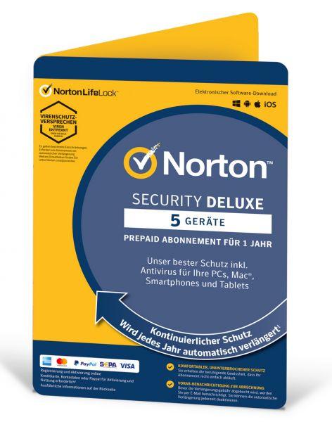 Norton Security Deluxe - 5 User / Geräte für 1 Jahr - ESD