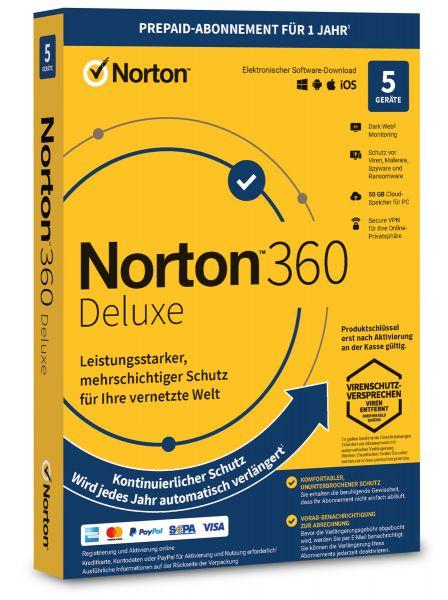 Norton 360 Deluxe 2021 / 2022 - 5 User / Geräte für 1 Jahr - ESD